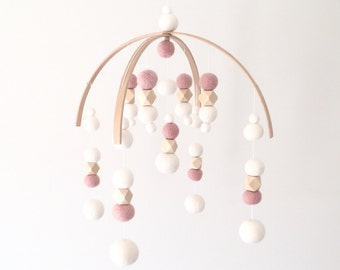 Modern Mobile No.1 -Dusty Pink \\ Gender Neutral Baby Mobile