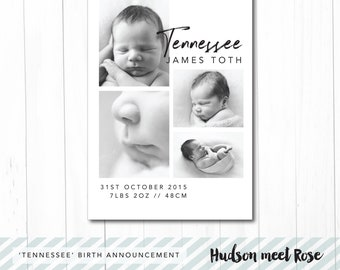 Printable - The 'Tennessee' Birth Announcement | Baby Thank You Card | Classic | Photo Card