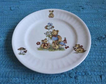 If you love teddy bears: vintage hand decorated children s plate by Royal Schwabap, Enter Holland. Mid century Netherlands. Good condition