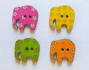 4 Wooden Elephant Buttons, Multi Color Buttons - #SB-00037