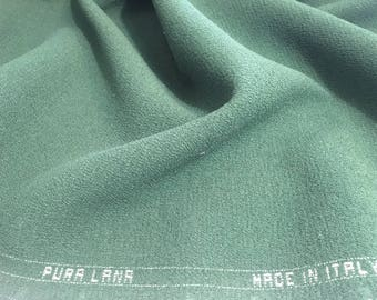 1.3m Green CREPE WOOL fabric Green DOUBLE Crepe fabric