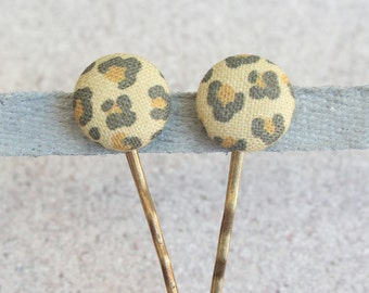 Leopard, Fabric Covered Button Bobby Pin Pair
