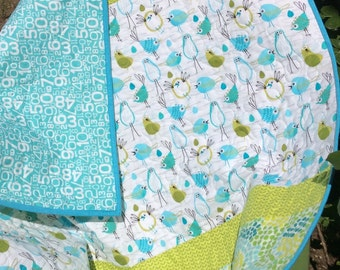 Baby Quilt, Boy, Girl, Quirky Birds, Blue Green, Modern Nursery Bedding, Crib Quilts, White Lime
