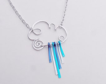 Rain Cloud Necklace - Choose Rainbow or Raindrops or all Silver