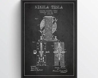 1889 Nikola Tesla Electro Magnetic Motor Patent Print, Nikola Tesla Poster, Nikola Tesla Art, Home Decor, Gift Idea, FINT07P