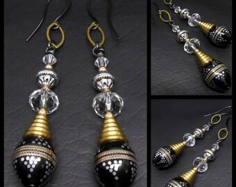 Dangle Earrings, Drop Earrings, Art Deco Earrings, Vintage Style, Lucite, Brass, Swarovski Crystal, Glass Crystal