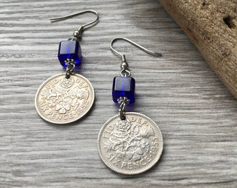 63rd birthday gift for her, 1955 British sixpence earrings, pretty English coin Jewelry, uk retirement present woman, Boho coin earrings