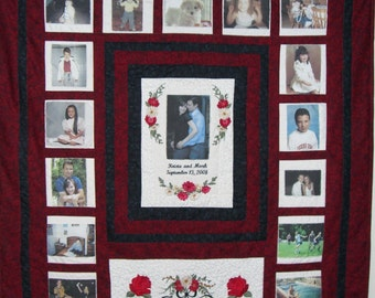 Custom Wedding or Anniversary Photo Memory Quilt         Personalized with Embroidered Wording and Designs!