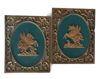 Mid Century Turner Wall Plaques Hollywood Regency Home Decor Vintage Winged Horse Matching Pair MCM Wall Decor Green and Gold