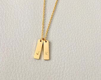 Initial vertical bar, initial necklace, vertical bar necklace, gift for her, bridesmaid gift, simple necklace, every day necklace