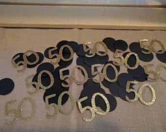 100 piece 50th Confetti, 50th Birthday Confetti, Number Confetti
