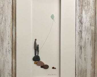 Fine Art from Pebbles and Seaglass Parent and Child Flying Kite by Sharon Nowlan, 8 by 15, Sailboats