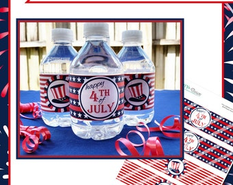 4th of July Water Bottle Labels - Instant Download