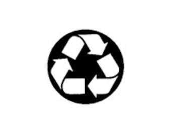 REDUCED PRICE mini Recycle Symbol Rubber Stamp