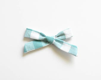 Bow Nylon Headband - Kids Hand Tied Bow - Blue Gingham Bow