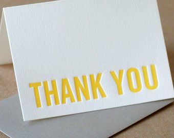 Letterpress Thank You Cards : Sunshine Yellow Modern Block Thank You Notes - box of 50 small folded cards w envelope color choice
