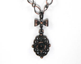 Delicate rusted iron finish floral pendant necklace women's jewelry gift for her black