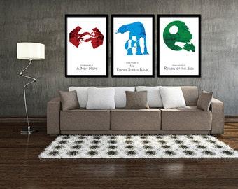 """Star Wars Minimalist Poster Set of 3 - Original Trilogy 11"""" x 17"""""""