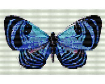 Loom Beading Tapestry Pattern Blue Butterfly with Word Chart Bead Weaving Graph Pretty Insect Lepidoptery