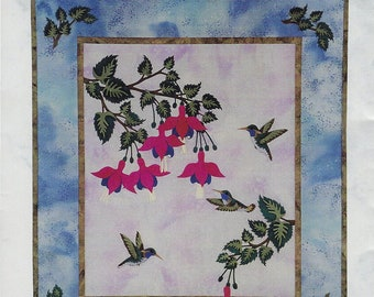 Hummingbird Splendor appliqué quilt pattern by Sunset Silhouette Designs