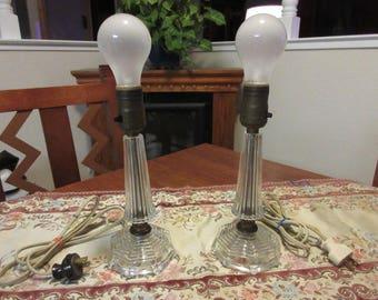 Vintage 1930's Glass Accent Lamps - Pair