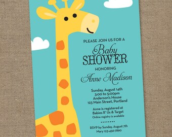 Animal Giraffe Baby Shower - Aqua and Yellow - Printable Digital Invitation - Personal Use Only