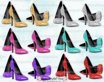 Glitter High Heel Shoes | Gold Silver Teal Red Purple Pink | Clipart | Instant Download