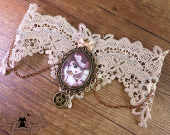 Handcrafted  Steam T necklace // burlesque steampunk style