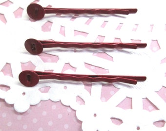 8mm Pad Red Bobby Pins, (Choose your amount)  lead and nickel free, C189