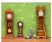 30% OFF SALE Woodland animal raccoon diorama art print: Clockwork