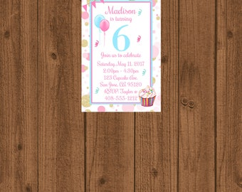 6th Birthday Party Invitation Sixth Invite Girls