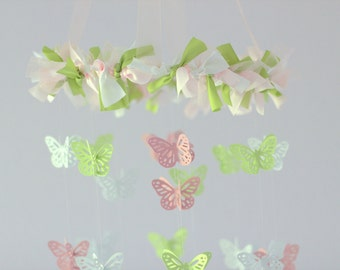Butterfly Mobile in Pink, Green, & White SMALL SIZE- Baby Nursery Mobile, Baby Shower Gift, Nursery Decor, Photography Prop
