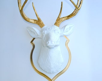 Deer Head Wall Mount in White and Gold with Matching Shield Mount DS0108