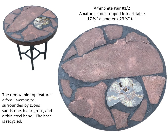 "Ammonite Pair #1/2:  A 17 1/2"" diameter x 23 1/2"" tall natural stone topped folk art accent table"