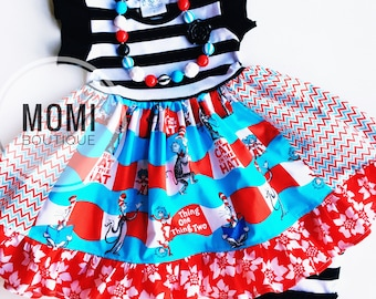 Dr. Seuss birthday dress Read Across America Cat in the Hat Thing one Thing two birthday party dress