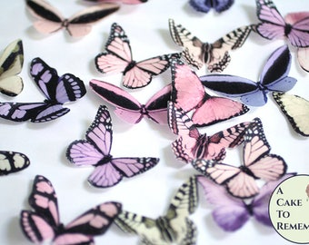 """20 pink, peach and lavender edible butterflies, wafer paper, 2"""" wide, for cake decorating, birthday cupcake toppers, fairy parties"""