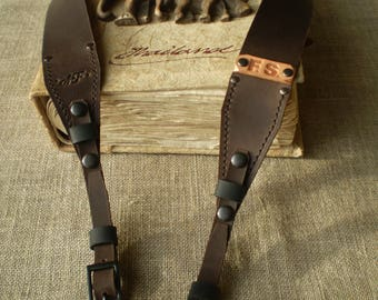 Leather Camera strap Personalized Leather Camera straps Monogram Camera strap DSLR camera strap Dark Brown Leather strap 100 cm