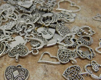 Heart Charms Grab Bag Assortment 100+ Grams Valentine Love Charms for Jewelry Craft Supplies