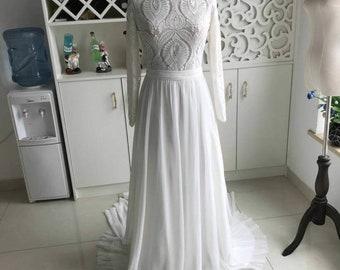 Long Sleeve Backless Lace and Chiffon Wedding Dress