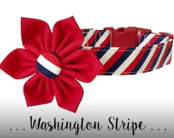 Red, White, and Blue Flower Dog Collar; Stripe Dog Collar and Flower: Washington Stripe