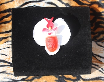 Pinup burlesque Tiki Hair Flower Hairclip Red White Orchid