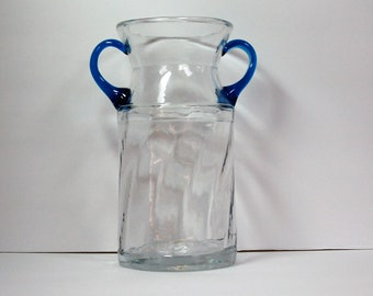 Rainbow Glass Company #518 vase, crystal with two blue handles