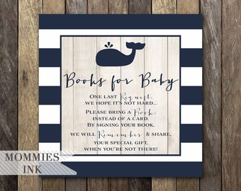 Whale Books for Baby Square Insert, Whale Bring a Book Insert, Book Request, Shower Printable, Stock Baby's Library, Navy Whale Baby Shower