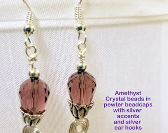 Light Amethyst Crystal Earrings with Silver Accents