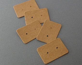 Small Kraft Paper Stud Earring Cards - Blank Earring Jewelry Display Cards- 35mm x 25mm - 25 pieces