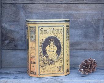 Colmans Mustard Tin, Yellow Tin, Bulls Head, Hinged Lid, Mustard Tin, Vintage Tin, Storage Tin, Cottage Decor, Farmhouse Decor, Mustard