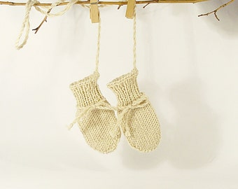 Cute baby mittens soft baby mitts with string Knited mittens newborn thumbless natural baby mittens infant 0-12 months baby scratch mittens