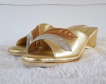 Vintage Metallic Gold Lame Slip On Wedges Wedge Sandals Heels Silver Bronze Leaves Love Mates