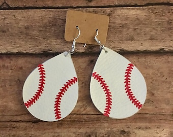 Faux Leather 2 inch baseball earrings. Tear drop shaped.