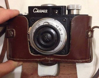 Smena Soviet camera in the original case,USSR camera, vintage camera, the camera pre-war, vintage photo